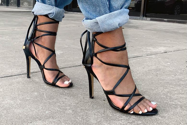 Black strappy sandal heels